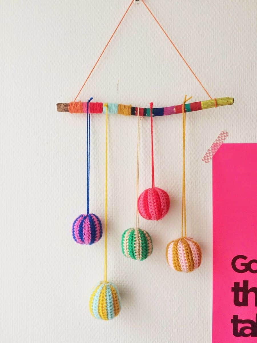 Diy Yarn Ball Nature Stick Mobile