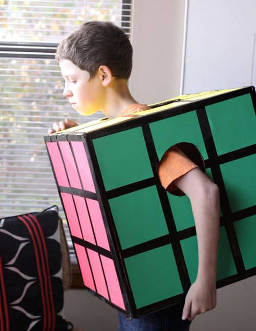 8 fun and easy diy halloween costumes rubiks cube via design mom this imaginative costume is nothing more than a square cardboard box decorated with colored paper and tape solutioingenieria Images