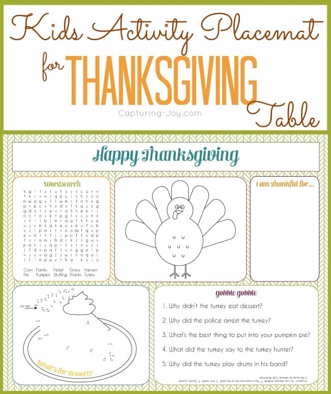 image about Printable Thanksgiving Placemat called 8 FESTIVE REE PRINTABLE THANKSGIVING PLACEMATS