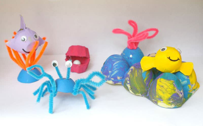 10 unique recycled crafts for kids Egg tray craft ideas
