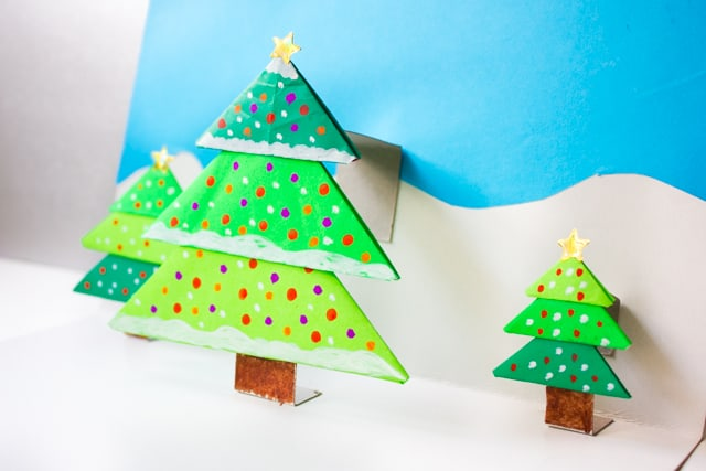 diy origami christmas tree pop up card - Pop Up Decorated Christmas Tree