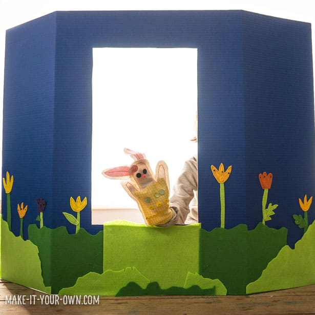 how to make a poster board puppet theater for pretend play