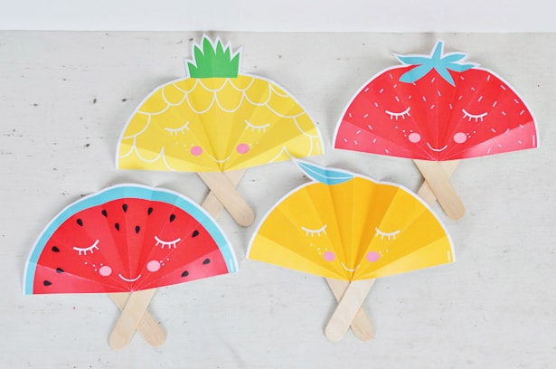 SUMMER FRUIT PAPER FANS WITH FREE PRINTABLE