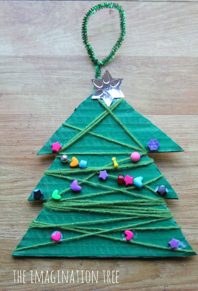 Yarn And Bead Wrapped Christmas Tree Craft