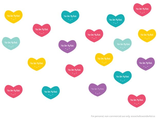 picture relating to You Rock Valentine Printable identify Produce Lovely AND Straightforward VALENTINE Middle ROCKS - Totally free PRINTABLE