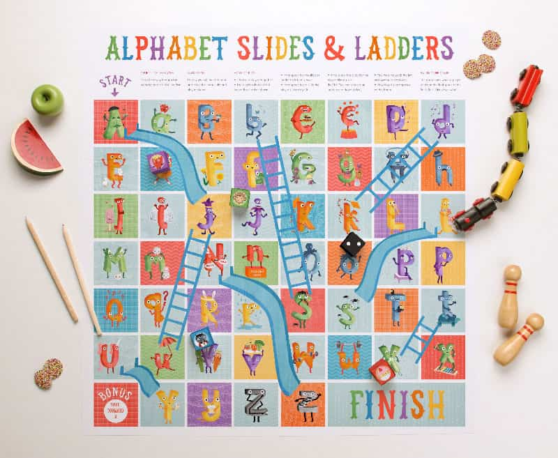 alphabet slides and ladders free printable game. Black Bedroom Furniture Sets. Home Design Ideas