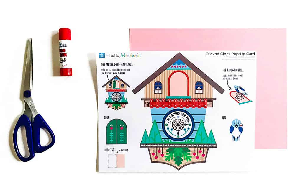 cuckoo clock printable popup card