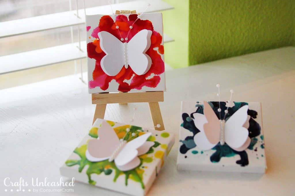 10 cheerful butterfuly crafts for Things to do with mini canvases