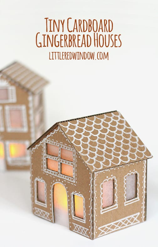 12 clever ways to make a gingerbread house cardboard gingerbread houses via little red window these mini cardboard houses will last and look so pretty when lit up inside maxwellsz