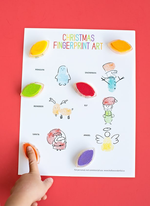 graphic about Printable Christmas Art called Xmas FINGERPRINT Artwork: Very simple Wintertime Artwork Job FOR Young children