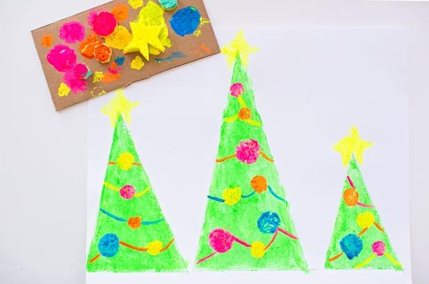 Sponge Painted Christmas Tree Art
