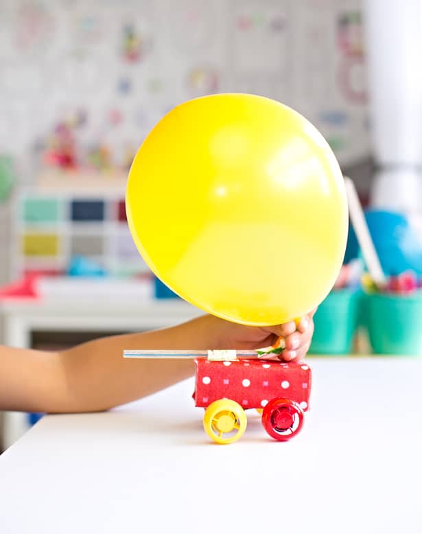 Make a balloon powered recycled juice box car for What can you make with balloons