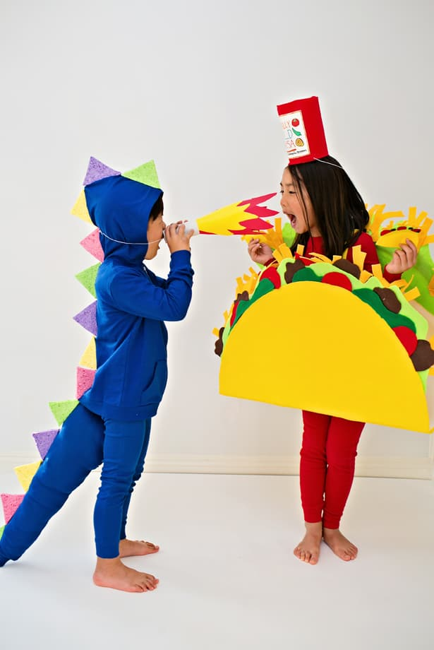 You can even make it a family costume by making another adult dragon or taco and/or having mom or dad go as one large hot sauce! & DRAGONS LOVE TACOS DIY HALLOWEEN COSTUMES FOR KIDS
