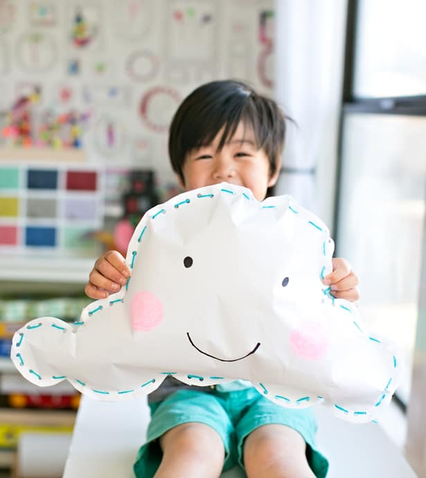 KID-MADE HAPPY PAPER CLOUD PILLOW