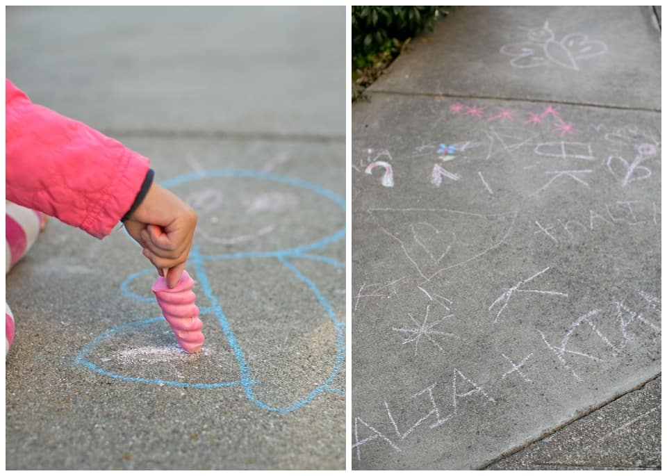 DIY Sidewalk Chalk Popsicles on pavement