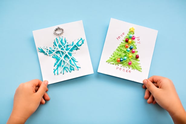 KID MADE DIY STRING ART CHRISTMAS CARDS