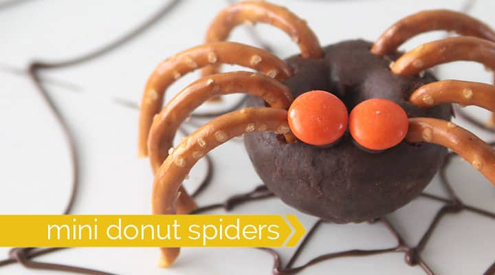 even little ones can get in on the fun making halloween treats with these cute and creepy mini donut spiders