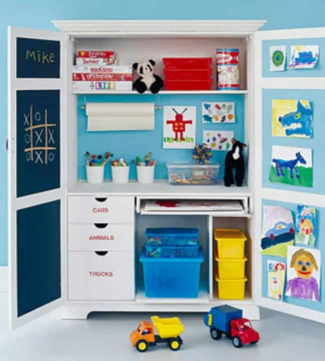 Armoire Art Station (via Pinterest) A Clever Idea For When You Want To  Contain The Mess, But Make It A Part Of The Room Design U2013 Store All The Art  Supplies ...