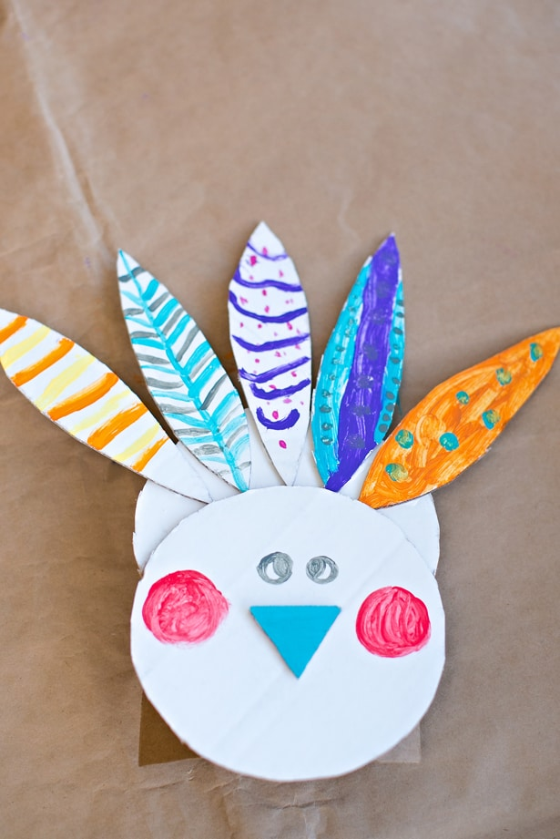 Easy Painted Cardboard Turkey Craft
