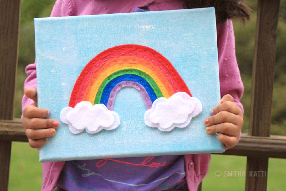 Diy Felt Rainbow Stitched Canvas Art
