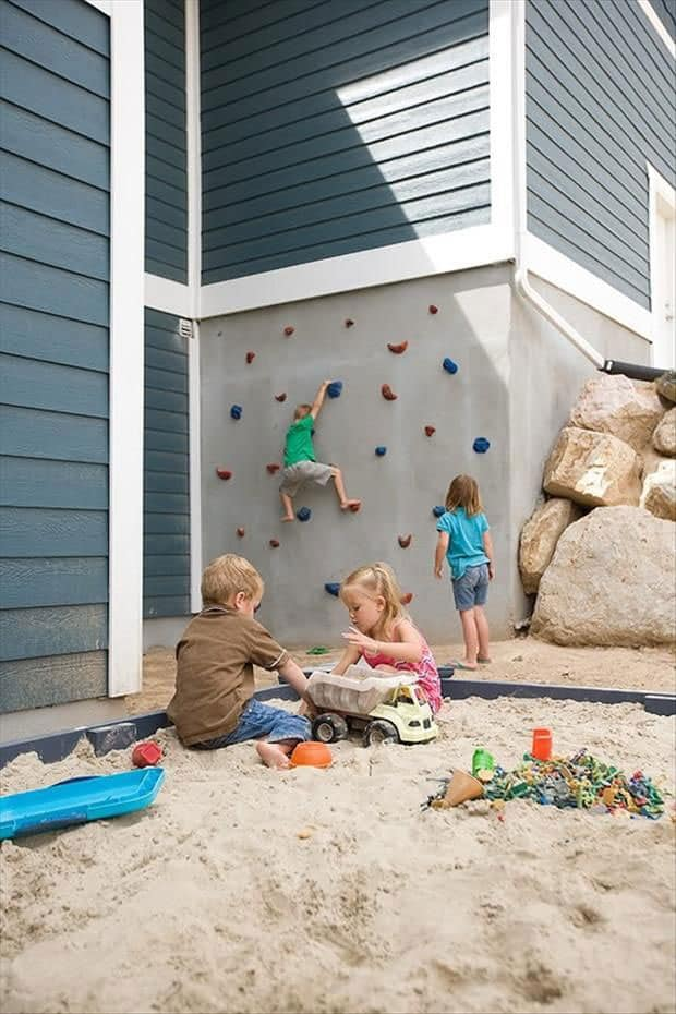 Sandbox Climbing Wall (via The Wright Family)
