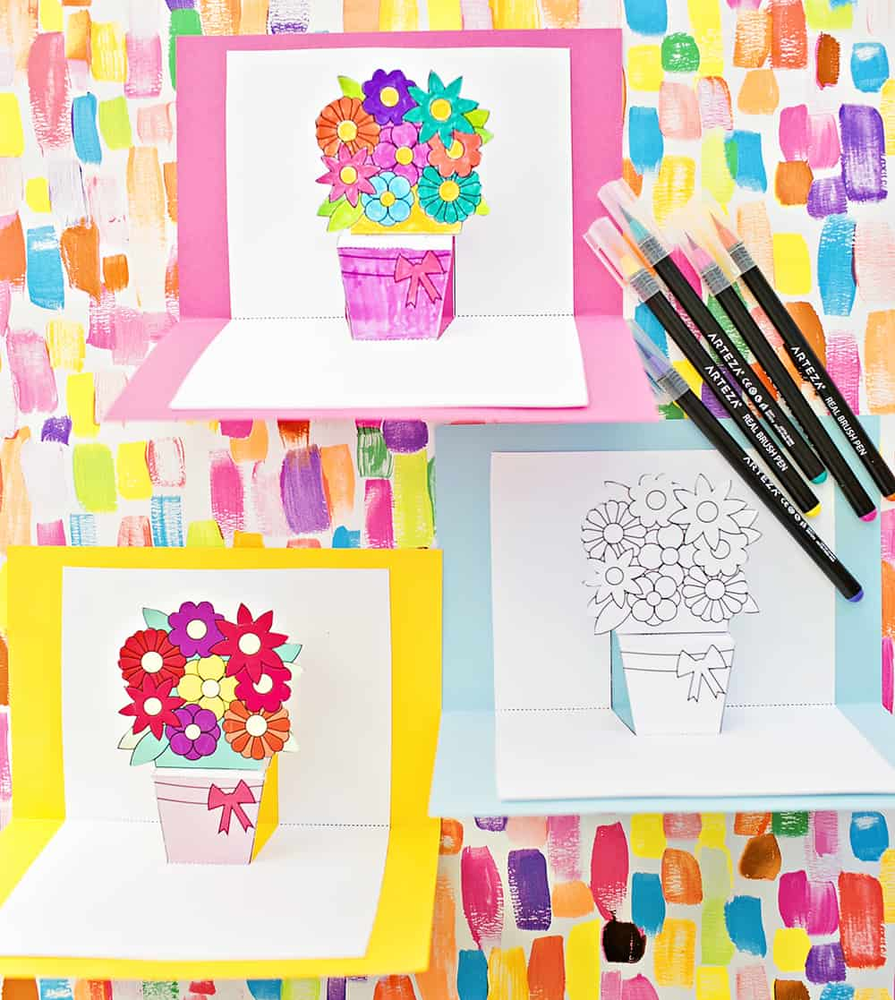 how to make pop up flower cards with free printables