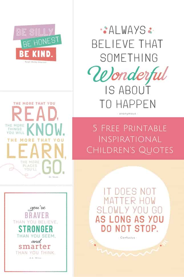 image about Free Printable Inspirational Quotes known as 5 Cost-free PRINTABLE INSPIRATIONAL CHILDRENS Estimates