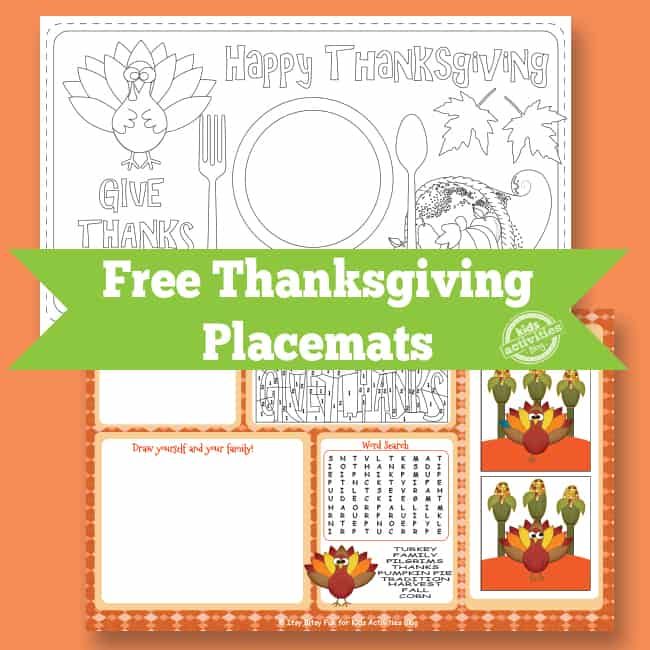 image regarding Printable Thanksgiving Placemat named 8 FESTIVE REE PRINTABLE THANKSGIVING PLACEMATS