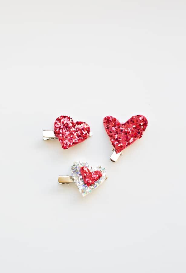 make easy glitter heart hair clips