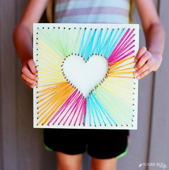 MAKE HEART STRING ART