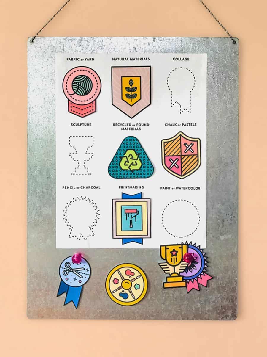 free printable art badges for kids
