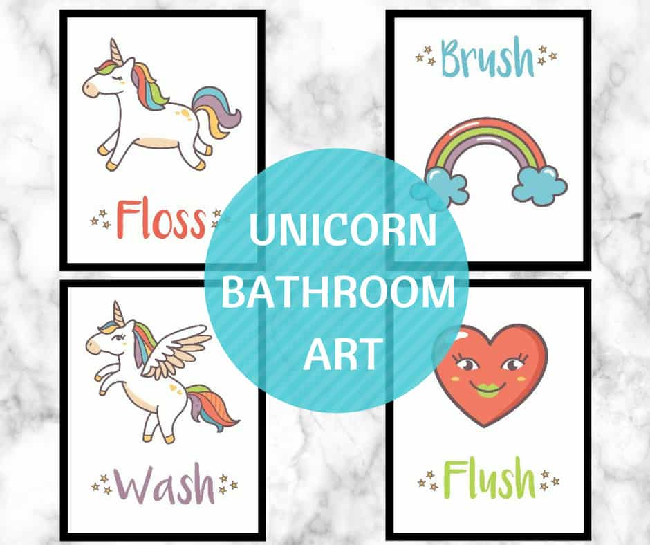 photograph regarding Free Printable Wall Art for Bathroom named UNICORN Rest room WALL Artwork Free of charge PRINTABLE