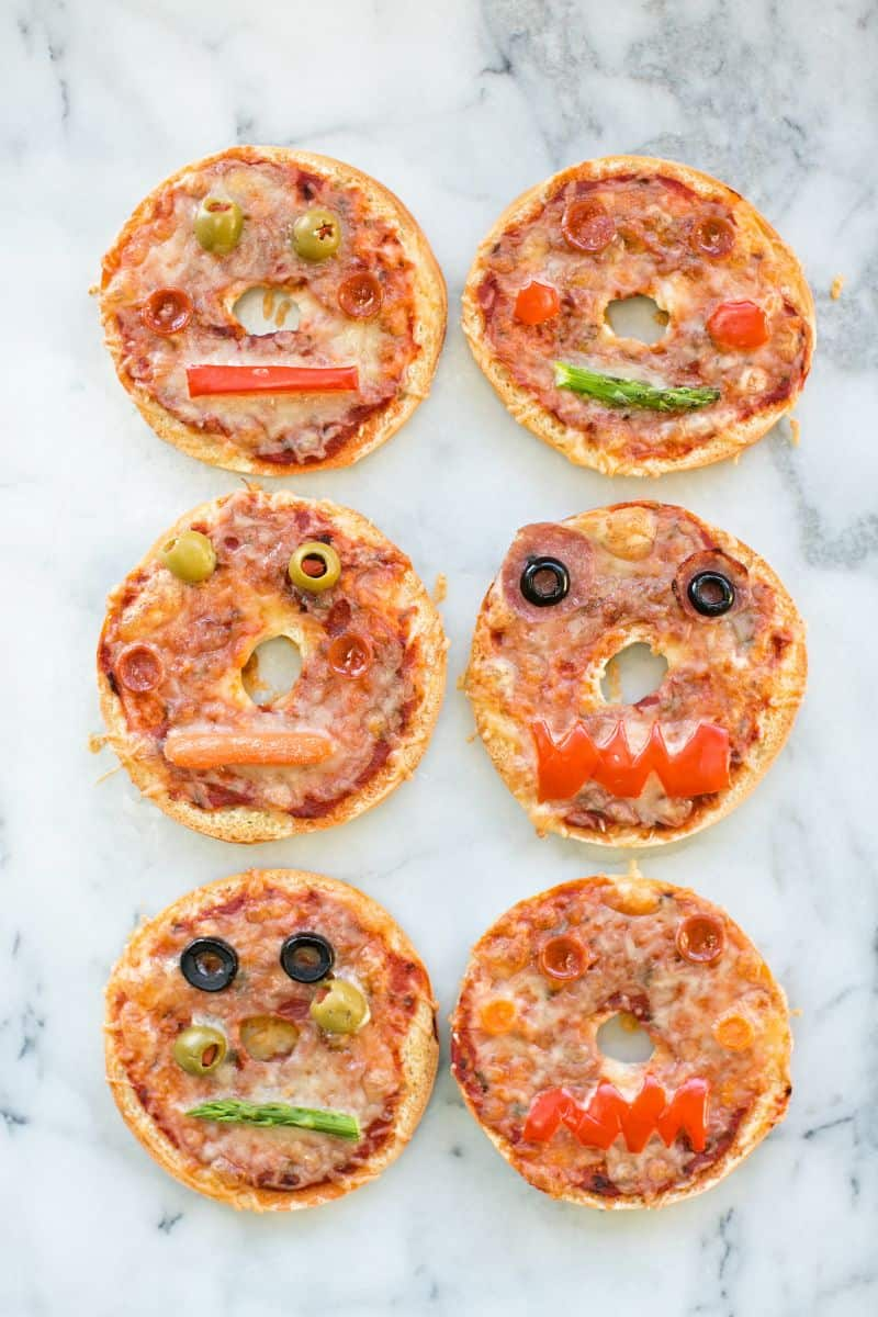 Make Your Own Monster Pizza Bagels Cute Halloween Snack