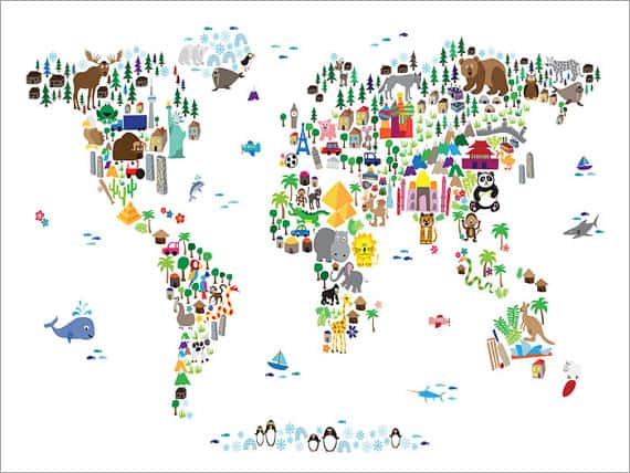 Make geography fun for kids with these 10 unique maps animal art print from 20 via art pause this bright and visual world map is fun for kids and adults and features cartoon animals famous landmarks and gumiabroncs Image collections