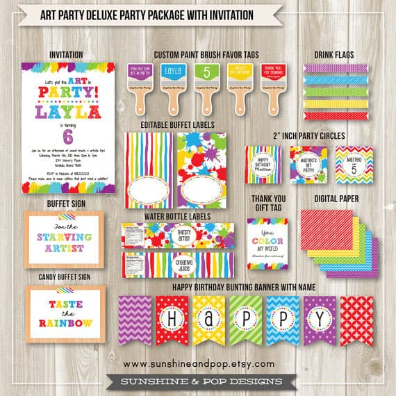 photo about Free Printable Paint Party Invitations identified as 12 Colourful RAINBOW Occasion Designs