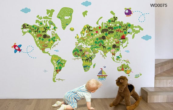 Make geography fun for kids with these 10 unique maps world map decal 79 via tikiti wall decals this stately wall decal becomes a great focal point in any kids room or nursery to show children all the world gumiabroncs Image collections