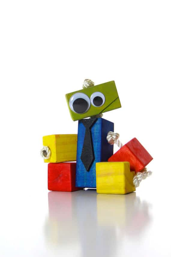 Quirky And Cute Wood Robot Toy