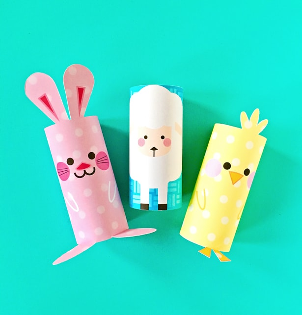 chick  bunny and sheep paper tube easter craft with free