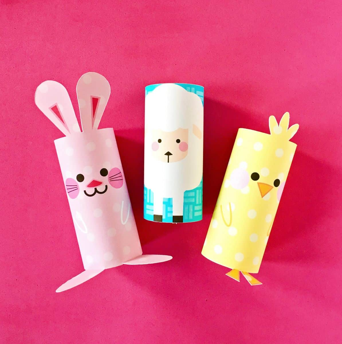 Craft: CHICK, BUNNY AND SHEEP PAPER TUBE EASTER CRAFT WITH FREE