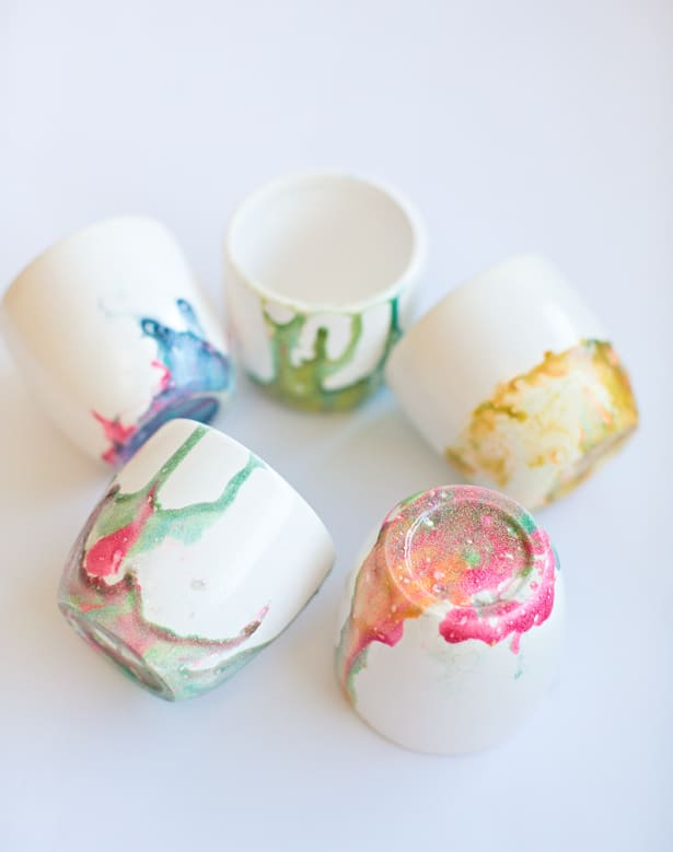 DIY KID-MADE MARBLED NAIL POLISH BOWLS