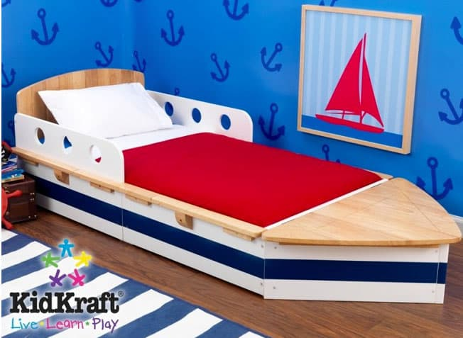 Kidcraft Toddler Boat Bed 21495 For The Nautically Inclined This Themed Also Fits Standard Crib Mattresses And Has Added Benefit Of Storage