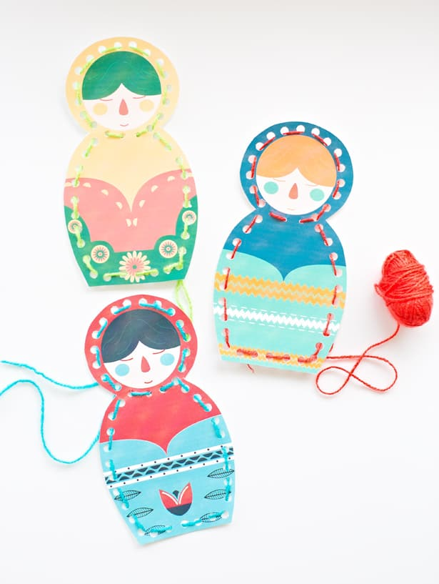 matryoshka nesting doll lacing cards