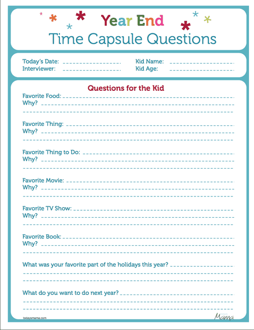 hello Wonderful 13 FESTIVE FREE PRINTABLES TO RING IN THE NEW YEAR – Time Capsule Worksheet