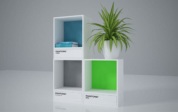 it looks like the bookcases arent in production and just a design concept for now but wed love to see them in stores in one day - Pantone Color Swatch Book