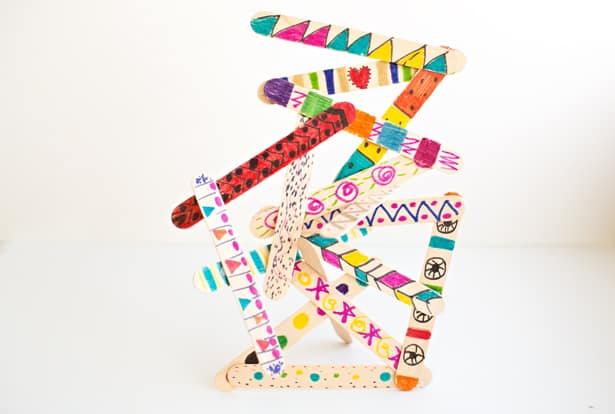 Easy Popsicle Stick Art Sculptures With Kids