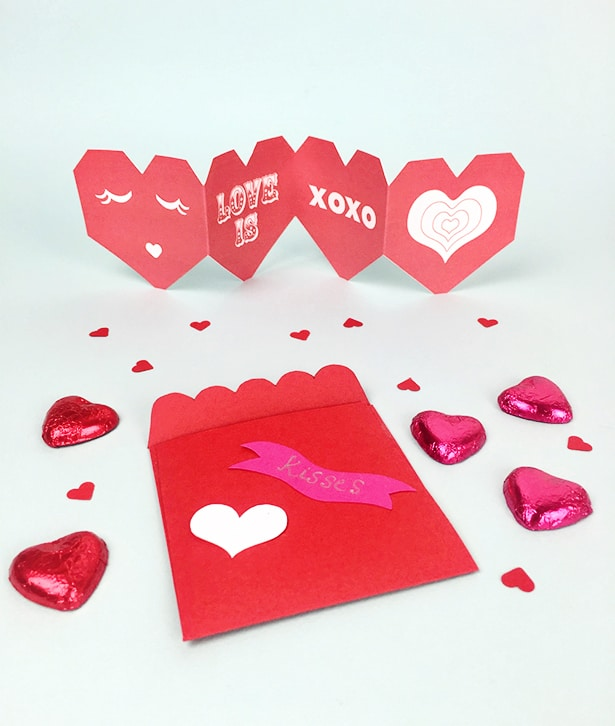 today were sharing these versatile valentine printable cards you can also turn into envelope and favor heart boxes