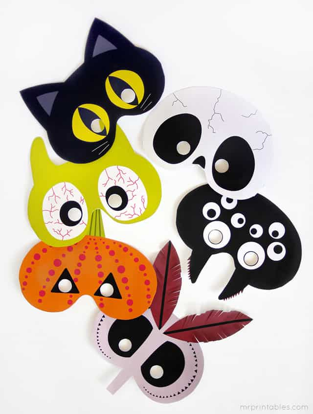 paper masks via mr printables these bright and hip paper masks are a modern take on halloween shapes and are free to print - Printable Halloween Shapes