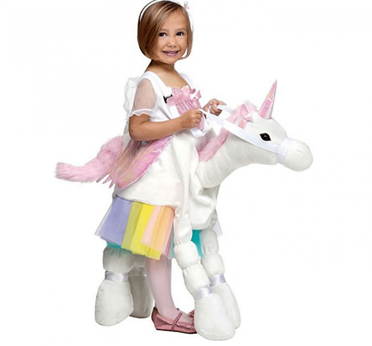 c528363dd3e8 Plush Ride-On Unicorn Costume Kids love getting a ride and this is one  magical animal they'll happily hop on to. Bonus is that after all that  trick or ...