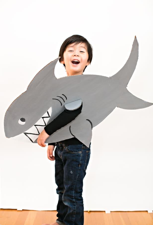 Easy shark cardboard costume for kids for Fish costume men