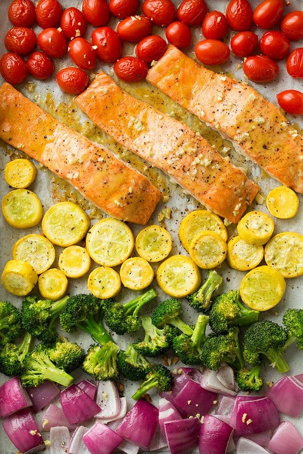 Sheet Pan Salmon and Rainbow Veggies